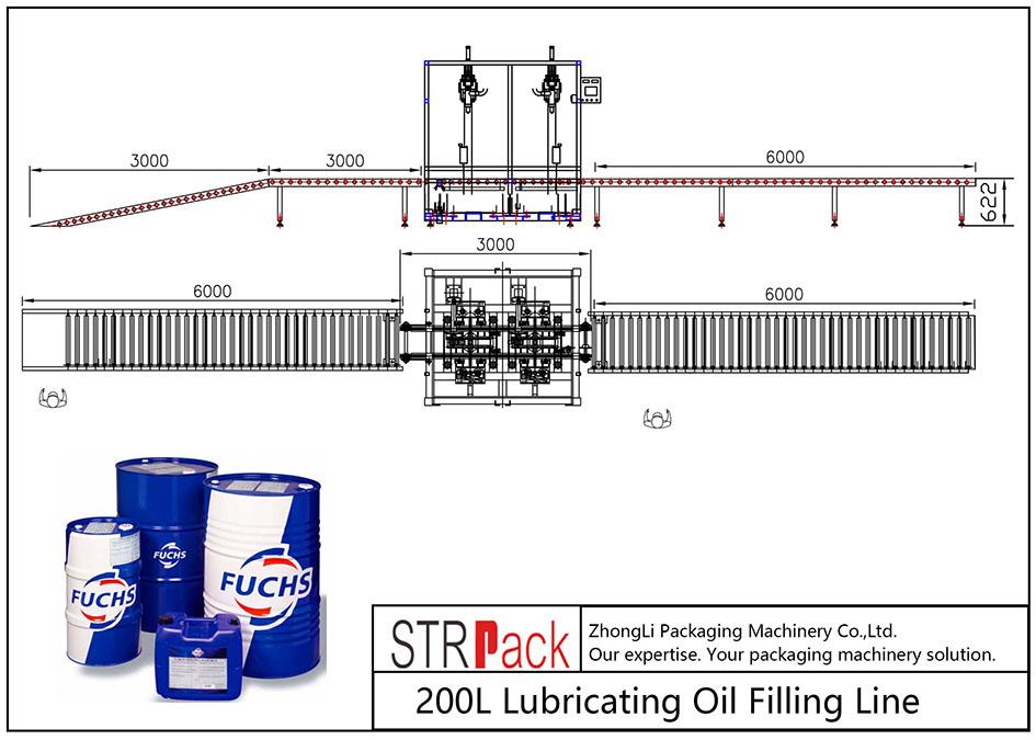 Automatyczna linia do napełniania olejem smarowym 200 l